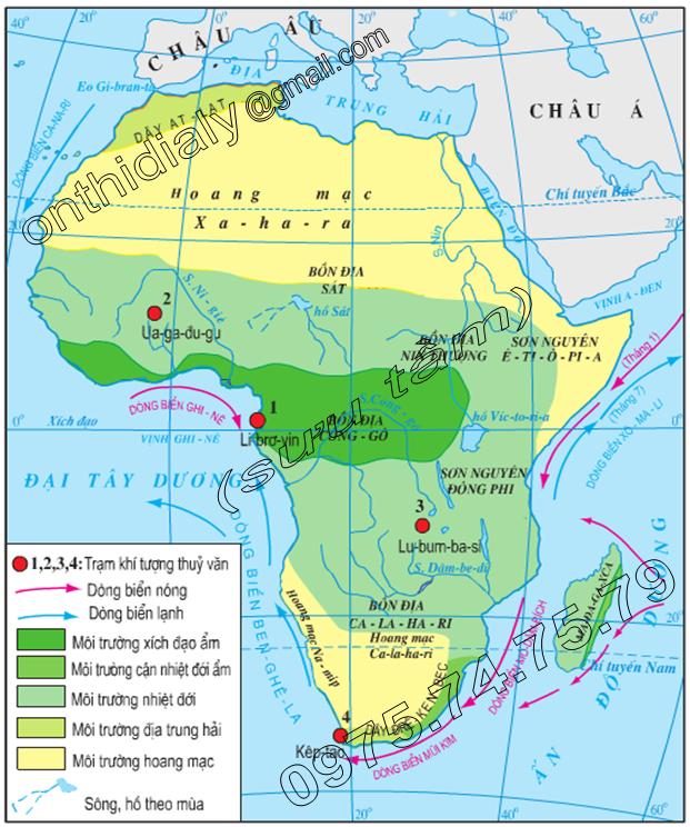 Hinh 27.2. Lược đồ các môi trường tự nhiên của châu Phi