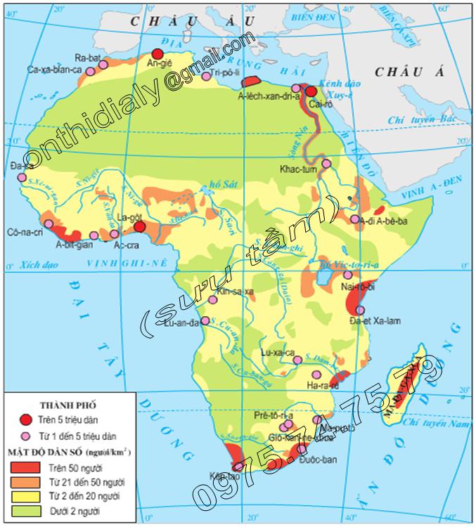Hinh 29.1. Lược đồ phân bố dân cư và đô thị châu Phi