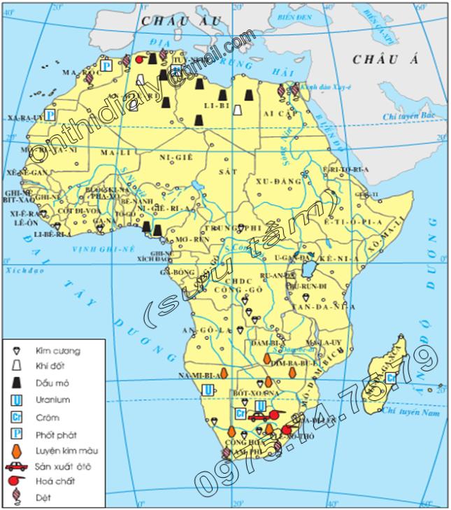 Hinh 30.2. Lược đồ công nghiệp châu Phi