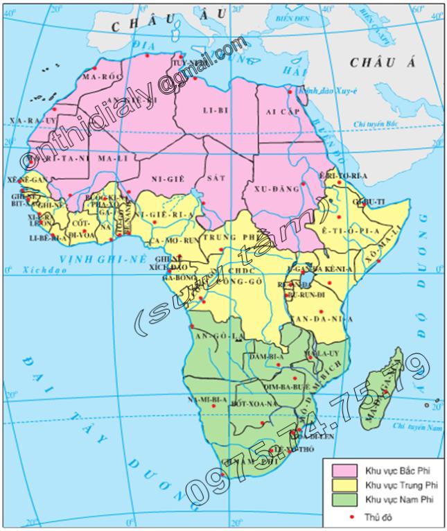 Hinh 32.1. Lược đồ ba khu vực châu Phi