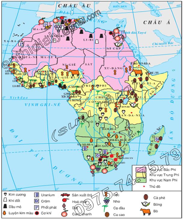 Hinh 32.3. Lược đồ kinh tế châu Phi