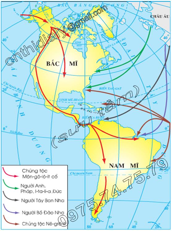 Hinh 35.2. Lược đồ các luồng nhập cư vào châu Mĩ
