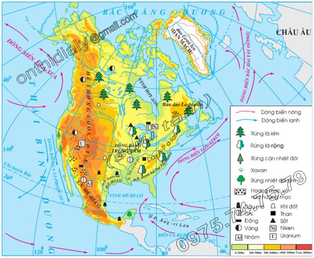 Hinh 36.2. Lược đồ tự nhiên Bắc Mĩ
