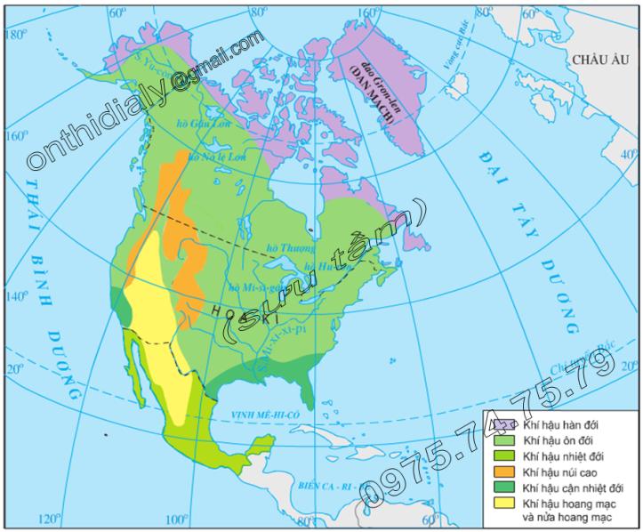 Hinh 36.3. Lược đồ các kiểu khí hậu Bắc Mĩ