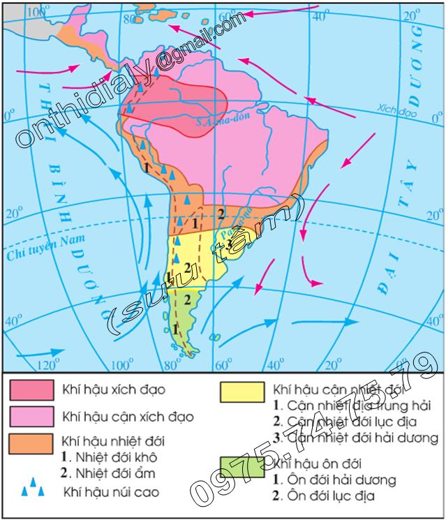 Hinh 42.1. Lược đồ khí hậu Trung và Nam Mĩ