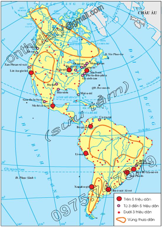 Hinh 43.1. Lược đồ các đô thị châu Mĩ