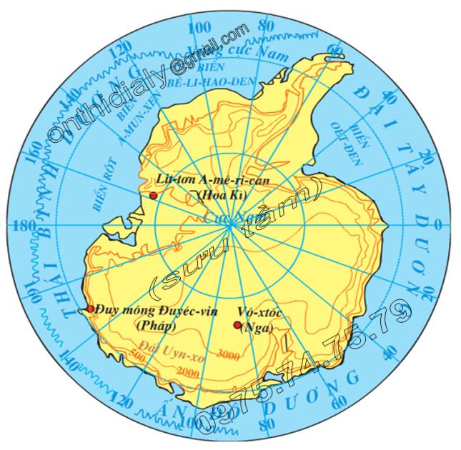 Hinh 47.1. Lược đồ tự nhiên châu Nam Cực