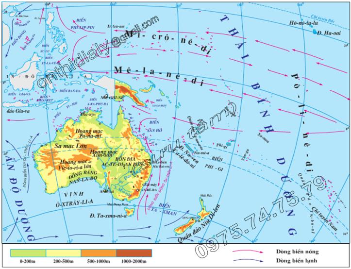 Hinh 48.1. Lược đồ tự nhiên châu Đại Dương