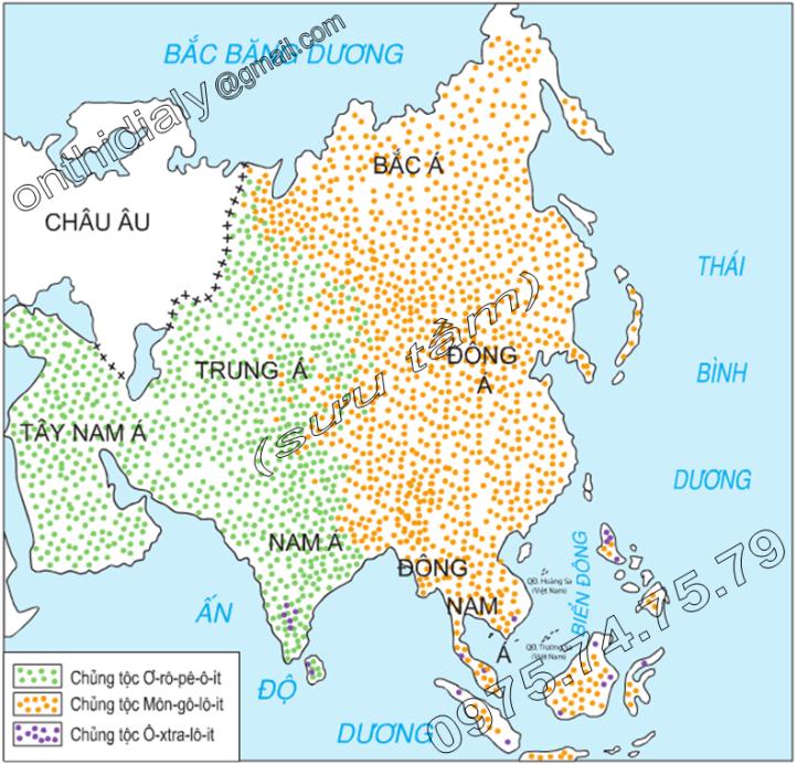 Hinh 5.1. Lược đồ phân bố các chủng tộc châu Á