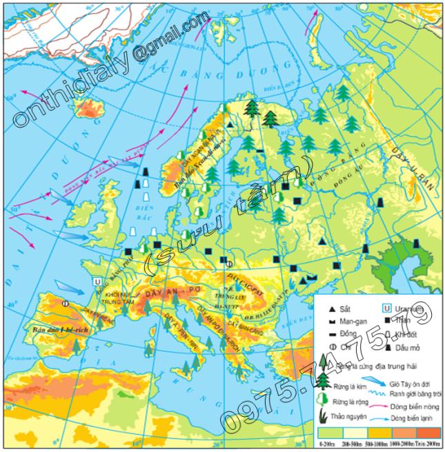 Hinh 51.1. Lược đồ tự nhiên châu Âu