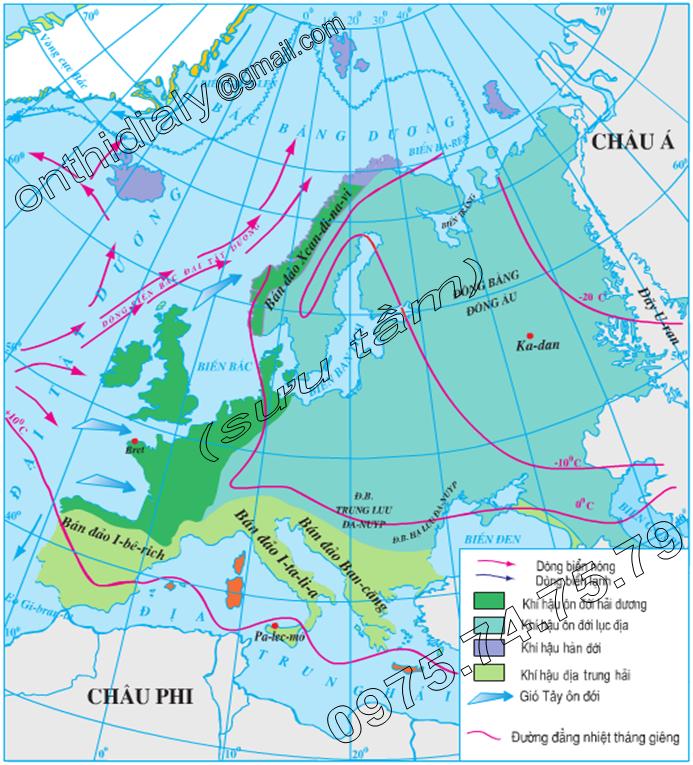 Hinh 51.2. Lược đồ khí hậu châu Âu