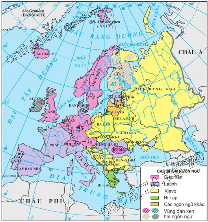 Hinh 54.1. Lược đồ các nhóm ngôn ngữ châu Âu