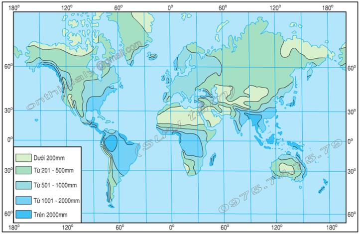 Hinh 54. Bản đồ phân bố lượng mưa trung bình trên thế giới