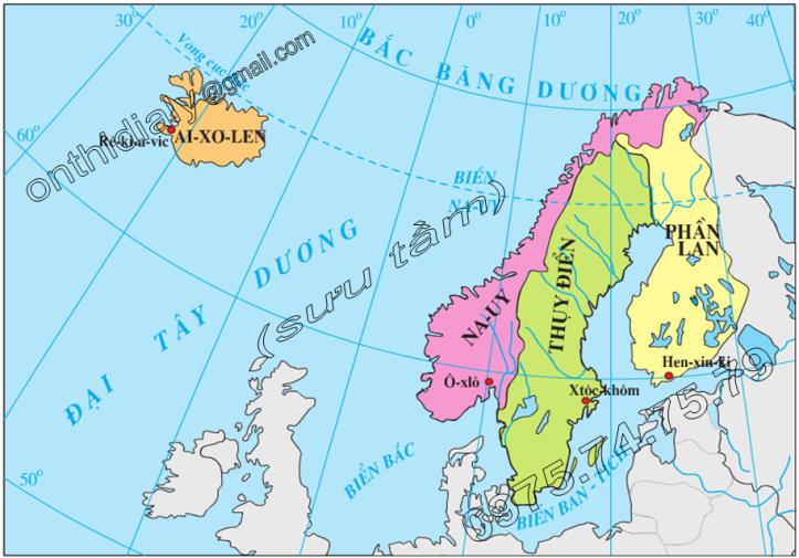 Hinh 56.1. Lược đồ các nước khu vực Bắc Âu