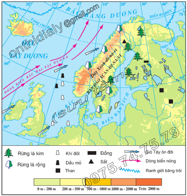 Hinh 56.4. Lược đồ tự nhiên khu vực Bắc Âu