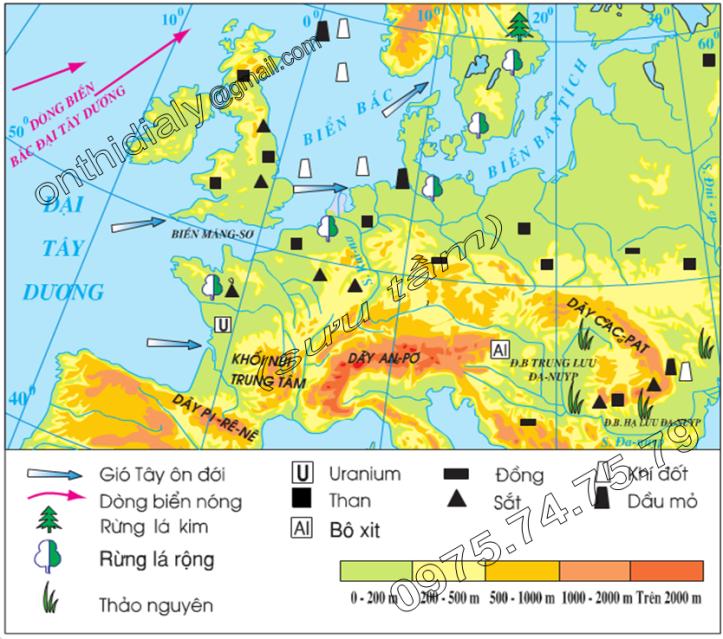 Hinh 57.1. Lược đồ tự nhiên khu vực Tây và Trung Âu