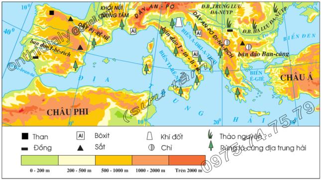 Hinh 58.1. Lược đồ tự nhiên khu vực Nam Âu