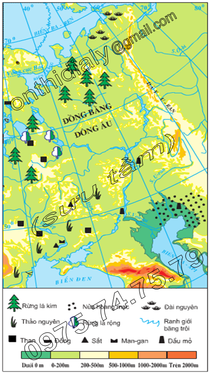 Hinh 59.1. Lược đồ tự nhiên khu vực Đông Âu