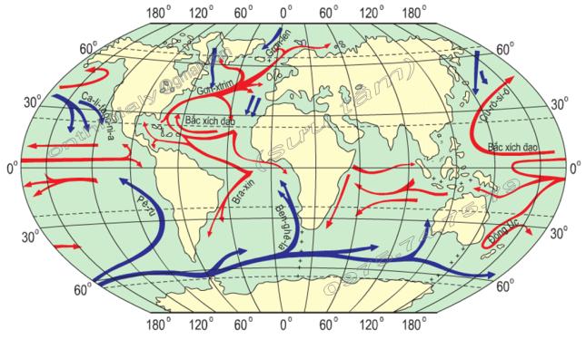Hinh 64. Bản đồ các dòng biển trong Đại dương Thế giới