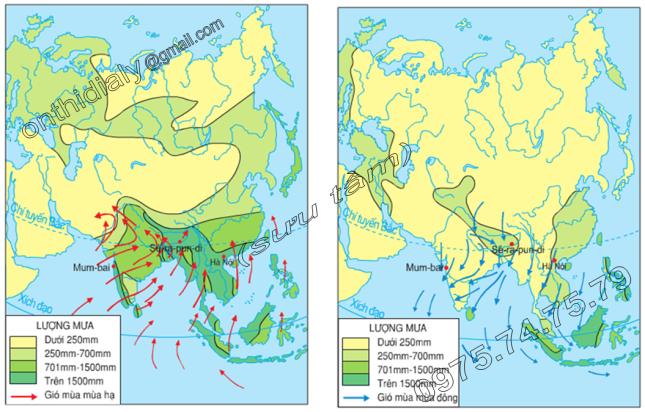 Hinh 7.1 và 7.2. Lược đồ gió mùa mùa hạ và mùa đông ở Nam Á và Đông Nam Á