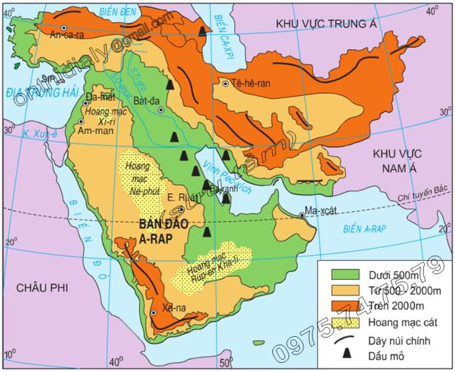 Hinh 9.1. Lược đồ tự nhiên Tây Nam Á