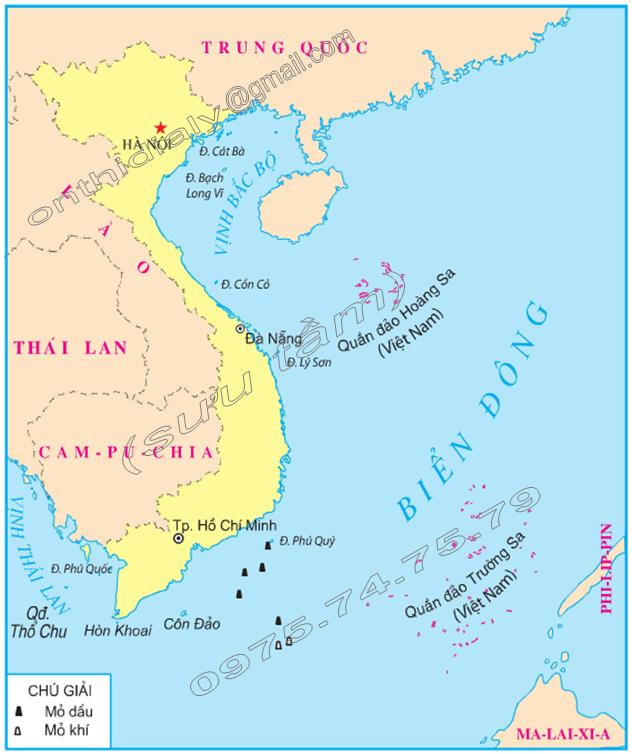Hinh 1. Biển Đông, các đảo và quần đảo của nước ta