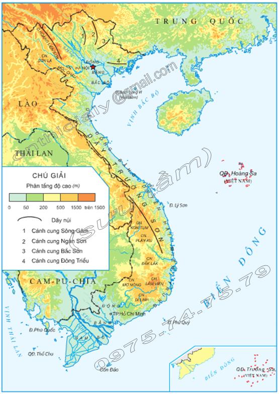 Hinh 1. Lược đồ địa hình Việt Nam