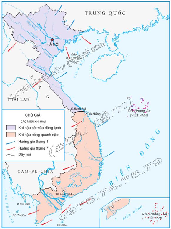 Hinh 1. Lược đồ khí hậu Việt Nam