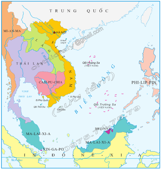 Hinh 1. Lược đồ khu vực Biển Đông