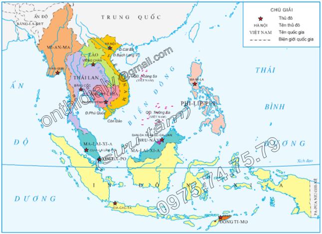 Hinh 1. Lược đồ Việt Nam trong khu vực Đông Nam Á