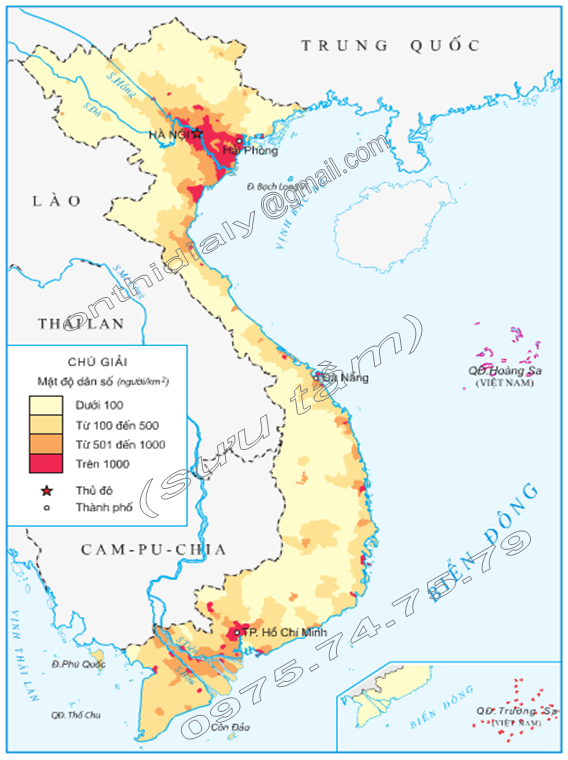 Hinh 2. Lược đồ mật độ dân số Việt Nam