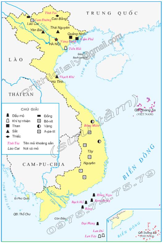 Hinh 2. Lược đồ một số khoáng sản Việt Nam