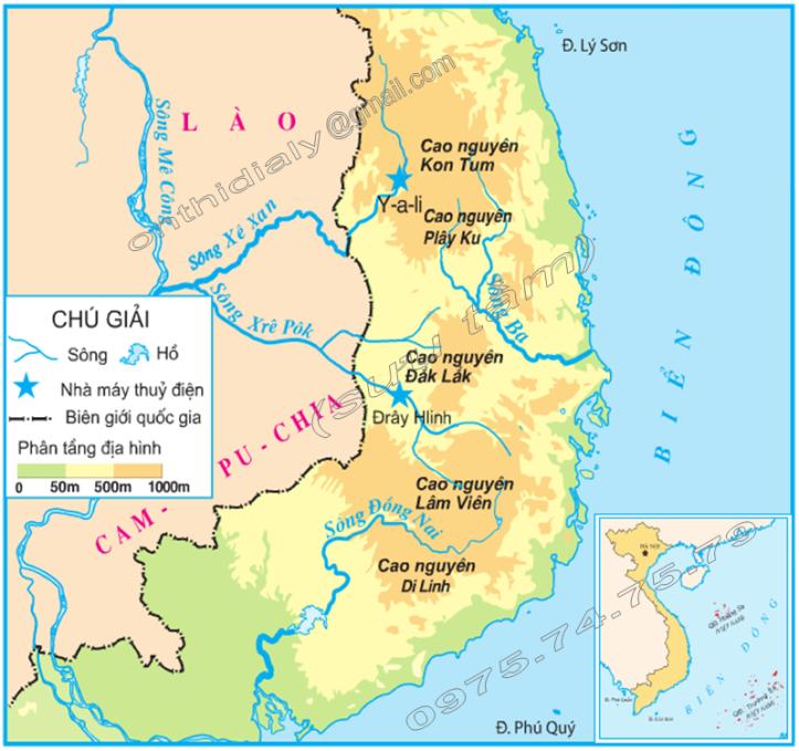 Hinh 4. Lược đồ các sông chính ở Tây Nguyên