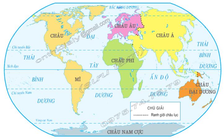 Hinh 1. Lược đồ các châu lục và đại dương