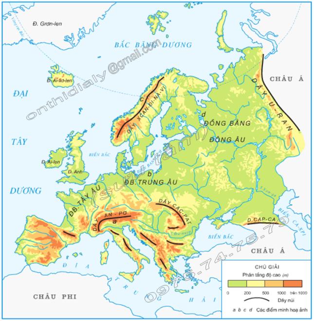 Hinh 1. Lược đồ tự nhiên châu Âu