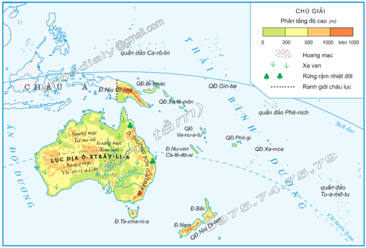 Hinh 1. Lược đồ tự nhiên châu Đại Dương