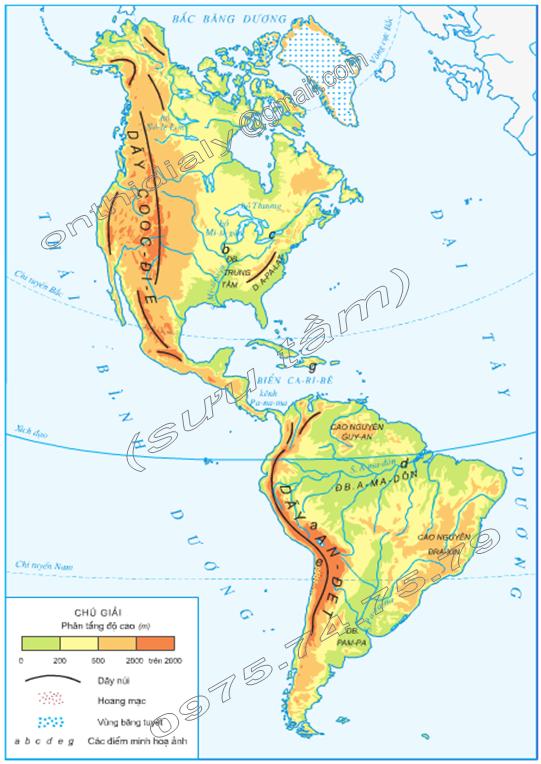 Hinh 1. Lược đồ tự nhiên châu Mĩ