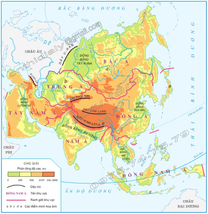 Hinh 3. Lược đồ các khu vực châu Á