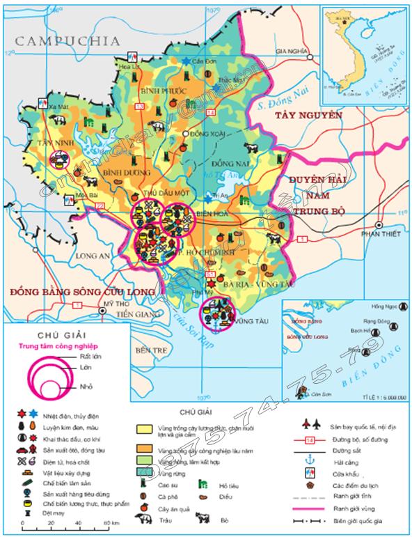 Hình 39. Khai thác lãnh thổ theo chiều sâu ở Đông Nam Bộ