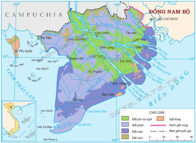 Hình 41.2. Các loại đất chính ở Đồng bằng sông Cửu Long