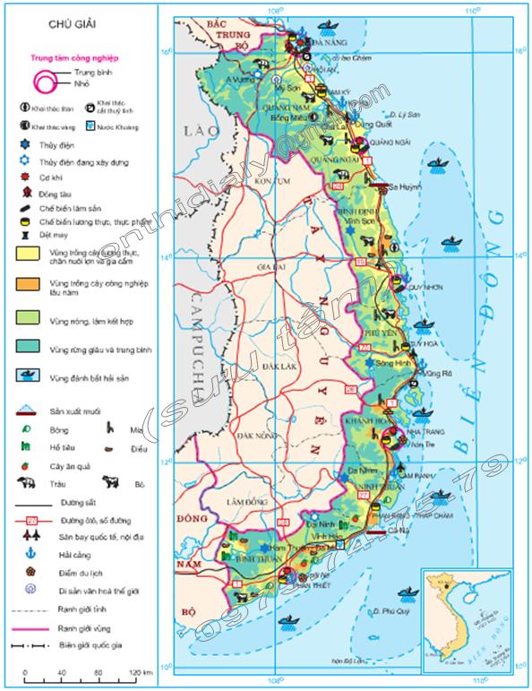Hinh 36. Khai thác các thế mạnh chủ yếu ở Duyên hải Nam Trung Bộ