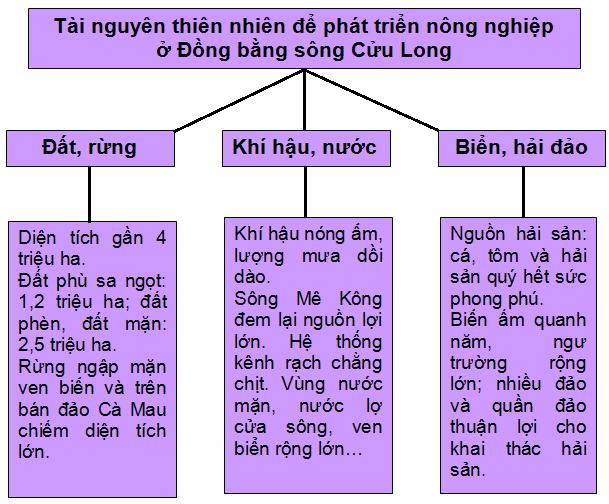 Hình 35.2. Sơ đồ tài nguyên thiên nhiên để phát triển nông nghiệp ở Đồng bằng sông Cửu Long, lop 9