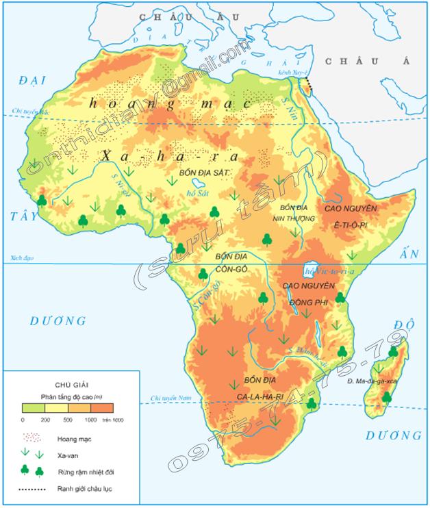 Hinh 1. Lược đồ tự nhiên châu Phi