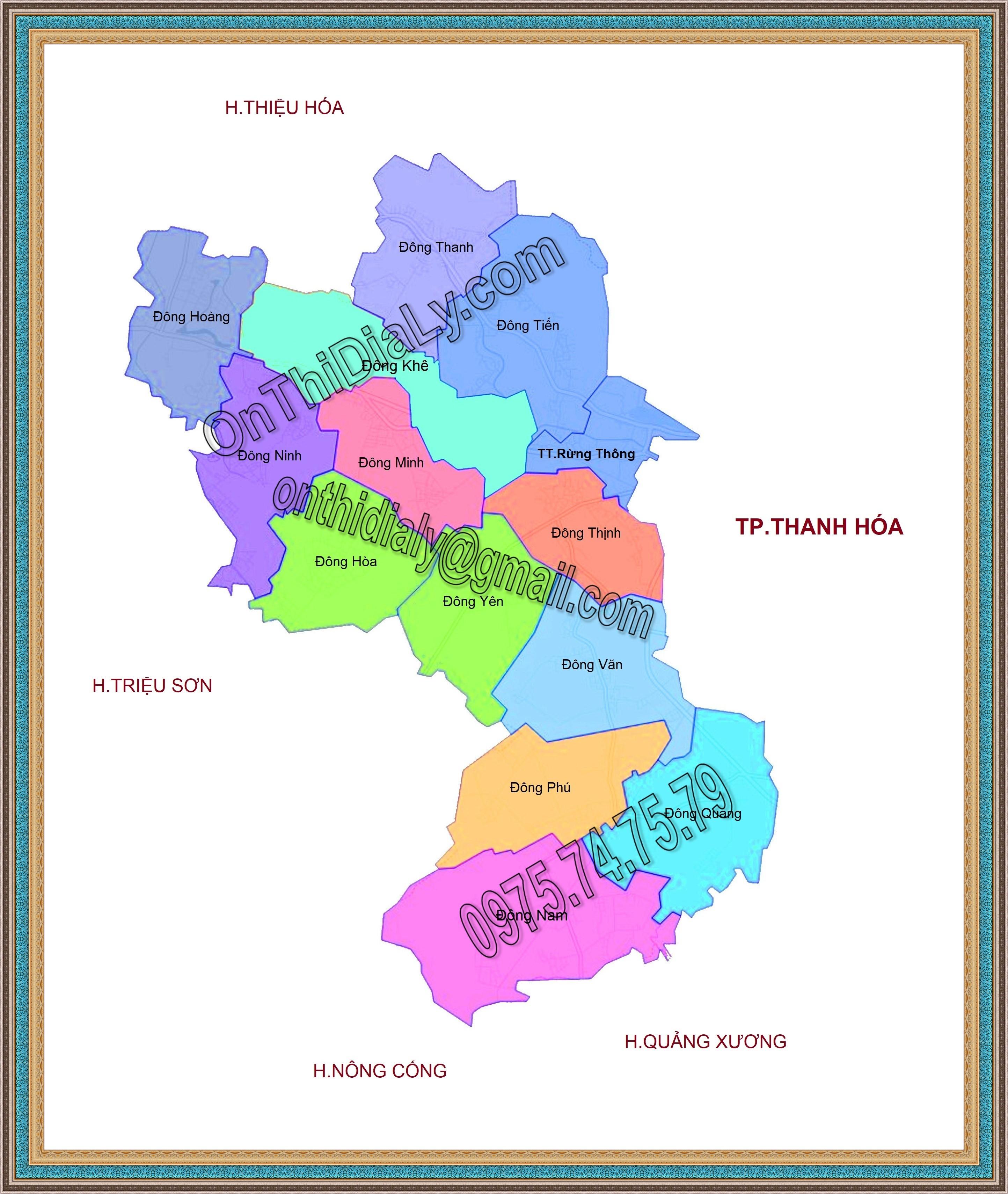 Bản đồ huyện Đông Sơn, tỉnh Thanh Hóa