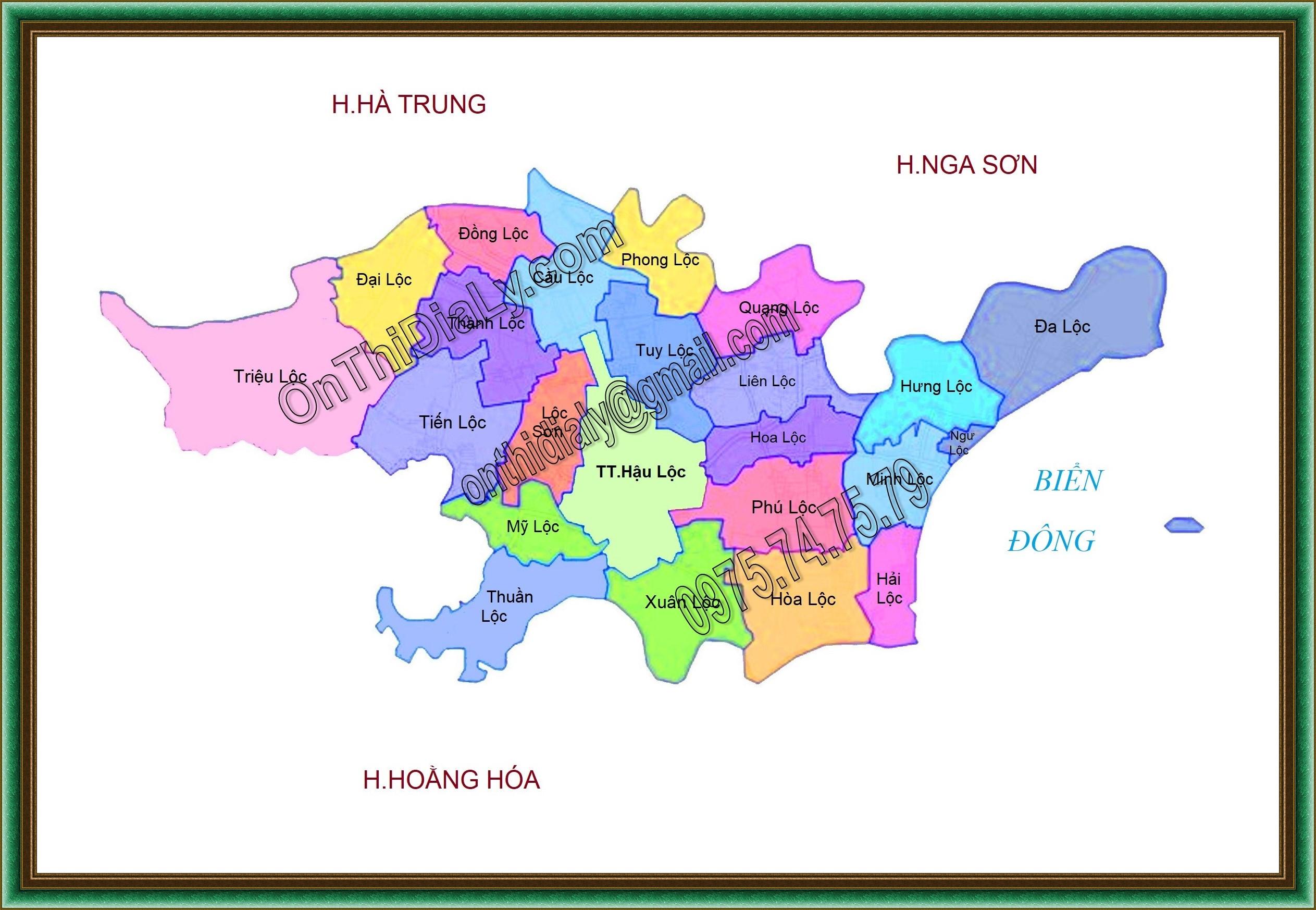 Bản đồ huyện Hậu Lộc, tỉnh Thanh Hóa