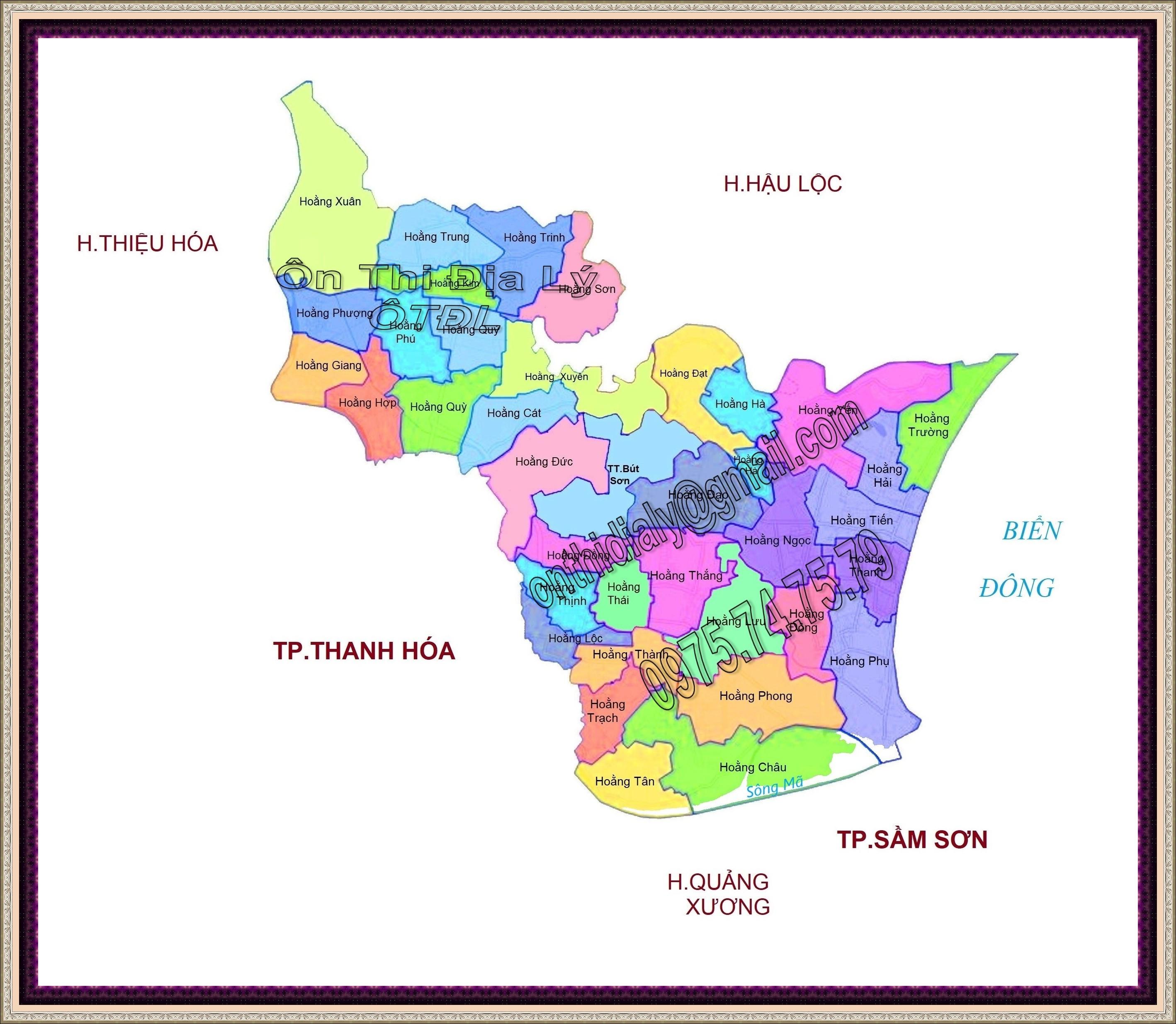 Bản đồ huyện Hoằng Hóa, tỉnh Thanh Hóa