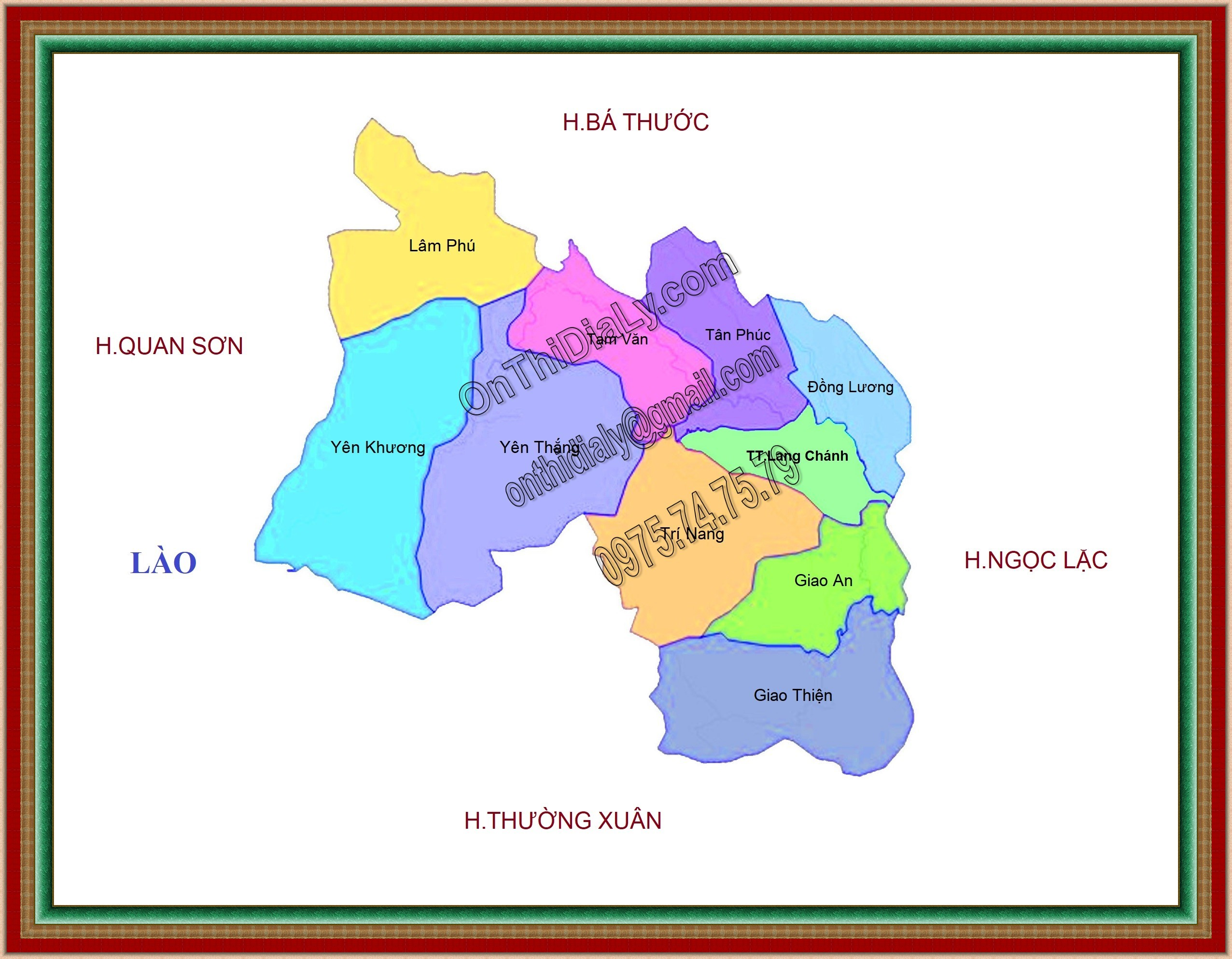 Bản đồ huyện Lang Chánh, tỉnh Thanh Hóa