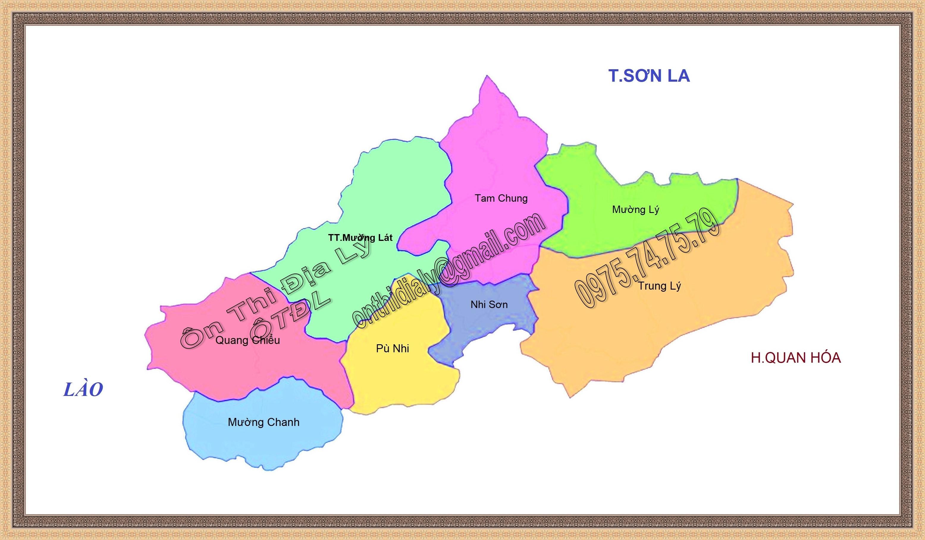 Bản đồ huyện Mường Lát, tỉnh Thanh Hóa