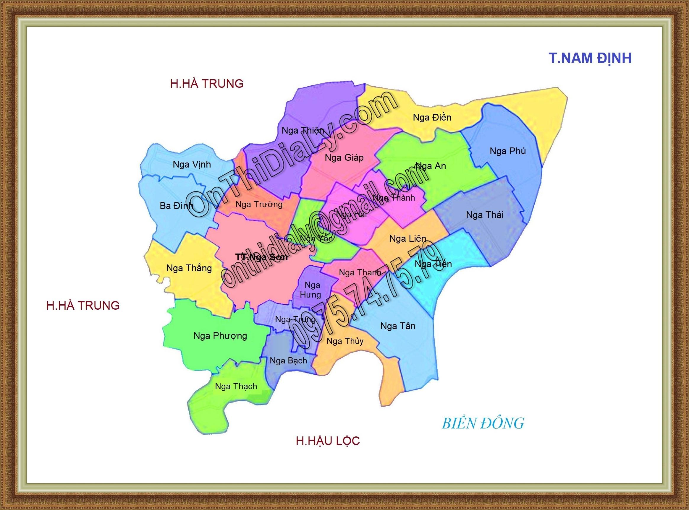 Bản đồ huyện Nga Sơn, tỉnh Thanh Hóa