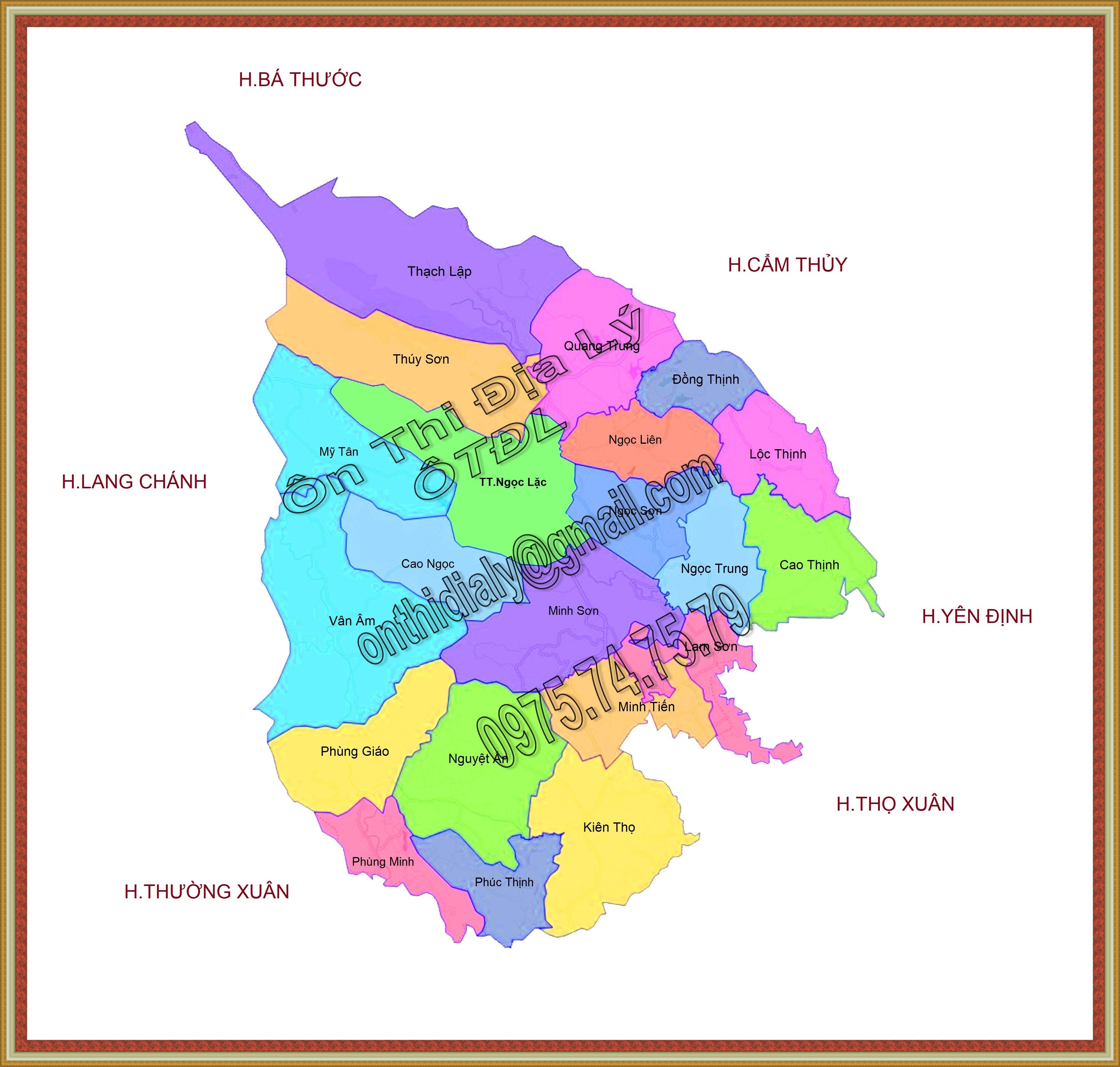Bản đồ huyện Ngọc Lặc, tỉnh Thanh Hóa